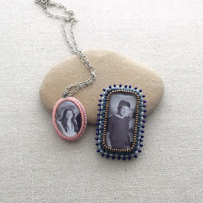 beaded picture frame and photo cabochon - free tutorial