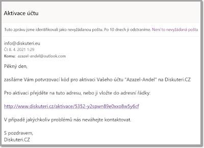 E-mail Anděla Azazela - Registrační klíč Diskutéři