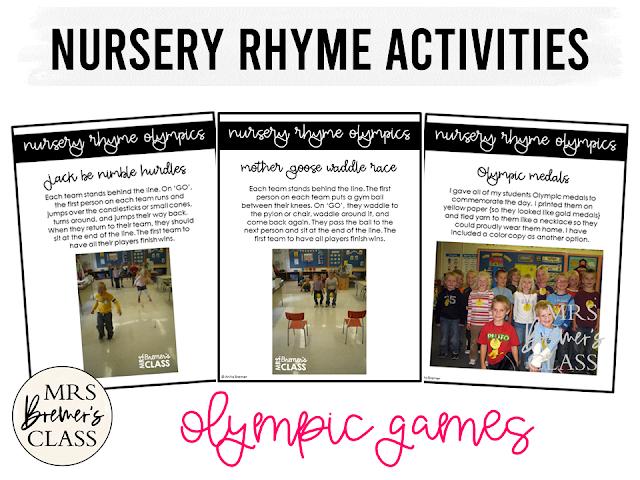 Nursery Rhymes unit with Nursery Rhyme Olympic Games as wrap up activities for Kindergarten