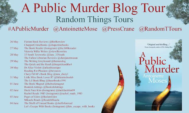 A Public Murder by Antoinette Moses book blog tour banner