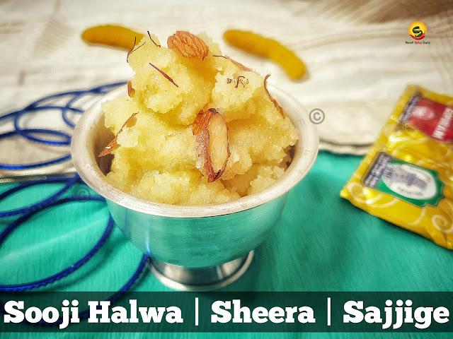 Sooji Halwa / Sajjige / Sheera is the most  important Prasad for SathyaNarayan Pooja,Kanya Pooja during Navratri also known as Kanjak pooja . Halwa puri ,sajjige , sooji ka halwa ,suji halwa , milk kesari , milk kesri ,sheera