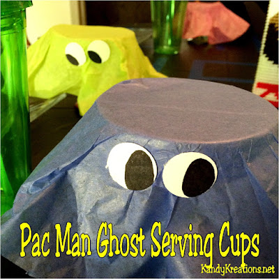 Decorate the table with yummy treats using these easy Pac Man ghost serving cups at your next video game party, 80s birthday party, or dinner party event.  In just moments, you'll have a fun addition to your table that will make all your guests smile.