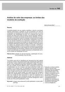 ANALISE DO VALOR DAS EMPRESAS - OS LIMITES DOS MODELOS DE AVALIAÇAO - Aderbal Nicolas Muller