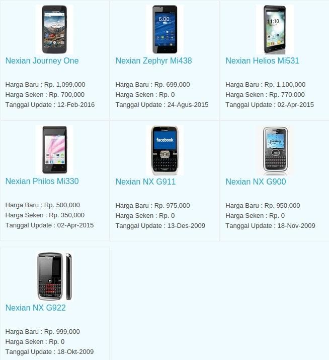 Daftar Harga Hp Terbaru Nexian Juli 2016
