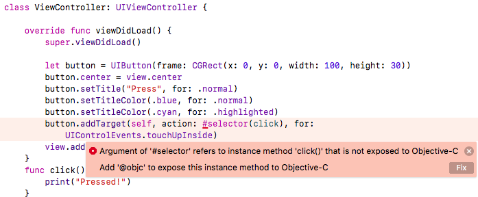 Study Swift: UIButton Selector Error with Swift 4: Argument