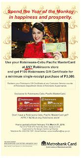 Robinsons Cebu Pacific MasterCard Promo, Philippines promo, credit card promo