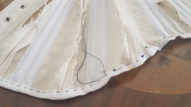 twill tape sewn onto the edwardian corset