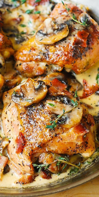 Chicken Thighs with Creamy Bacon Mushroom Thyme Sauce