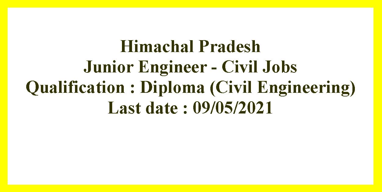 Junior Engineer - Civil Jobs in Himachal Pradesh