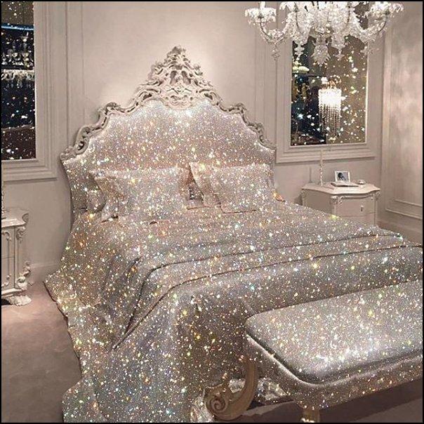 silver glitter bed set