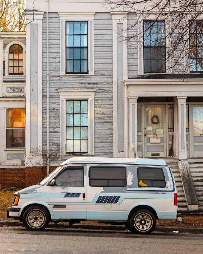Portland, Maine USA March 2020 photo by Corey Templeton. A matching Astrovan and house on Danforth Street.