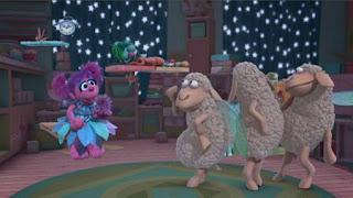 Abby Cadabby, Blögg, Gonnigan, Mrs. Sparklenose, Abby's Flying Fairy School Sheepytime, Sesame Street Episode 4416 Baby Bear's New Sitter season 44
