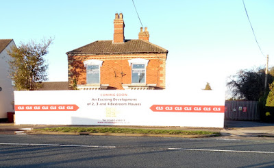 Picture - boards advertising a range of new homes to be built in Brigg - image on Nigel Fisher's Brigg Blog, December 2018