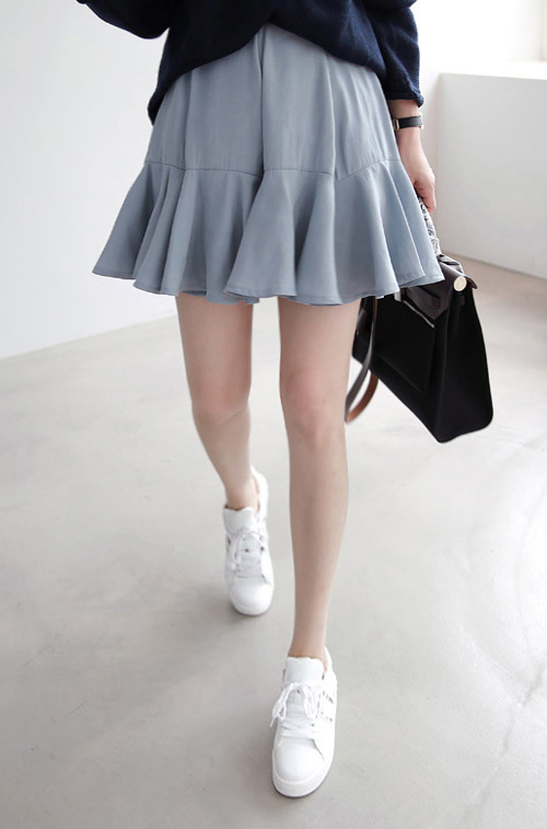 Flared Semi-Elastic Waist Skirt