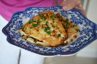 Sauteed Snapper with Tahini Sauce & Toasted Pine Nuts