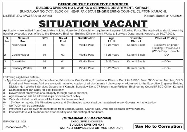 Works & Services Department Sindh Jobs 2021 in Pakistan Jobs in Pakistan 2021