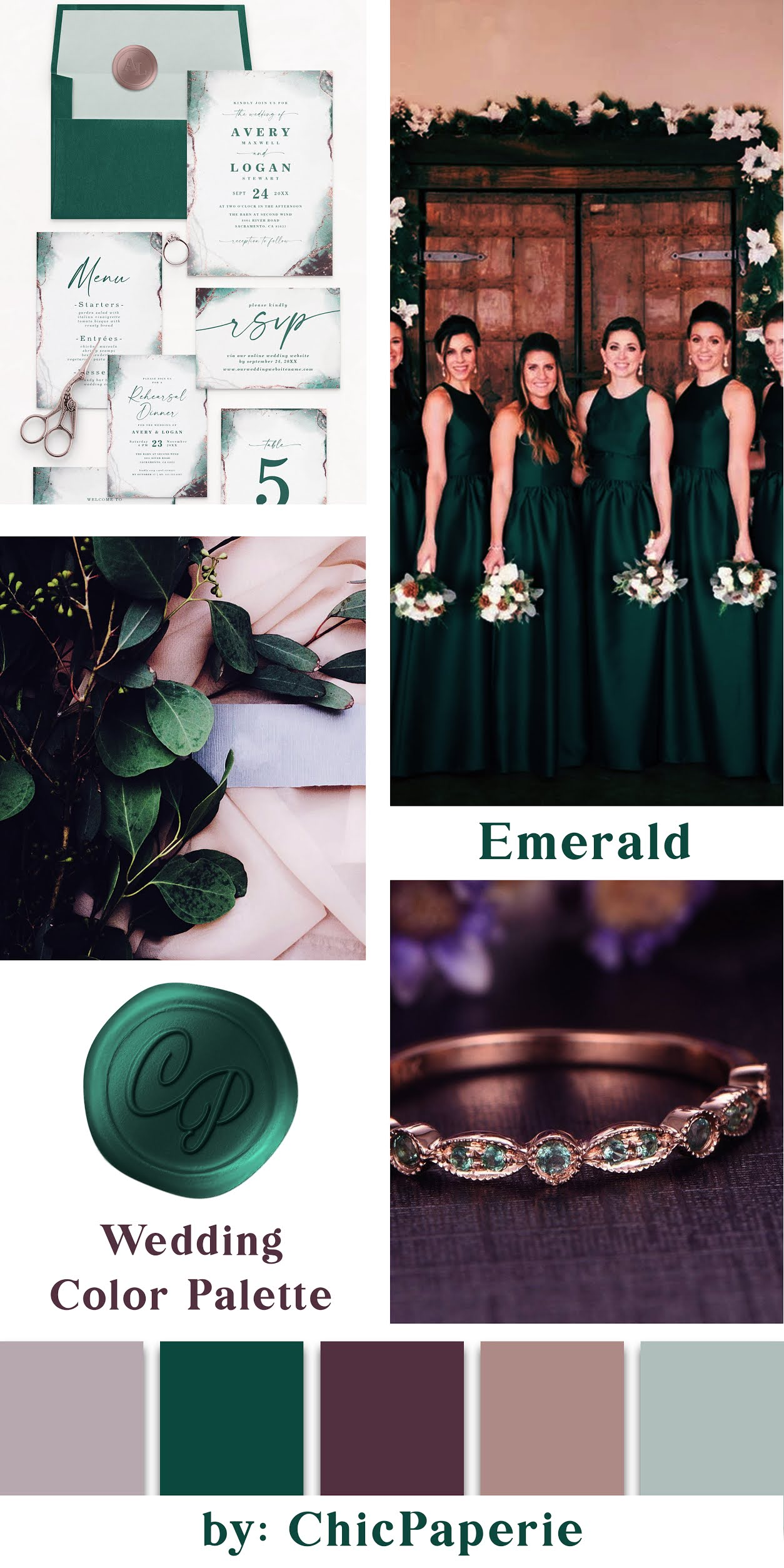 Emerald Green Wedding Color Scheme: Invitations Suite, Bridesmaid Gowns, Foliage with Envelopes, and Jeweled Bracelet