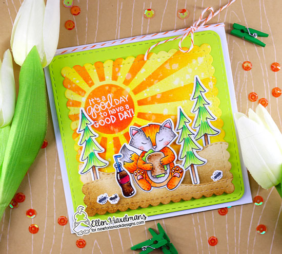 Fox Picnic Card by Ellen Haxelmans | Woodland Picnic Stamp Set, Fox Hollow Stamp Set, Sunscape Stencil and Frames Squared Die Set by Newton's Nook Designs #newtonsnook #handmade