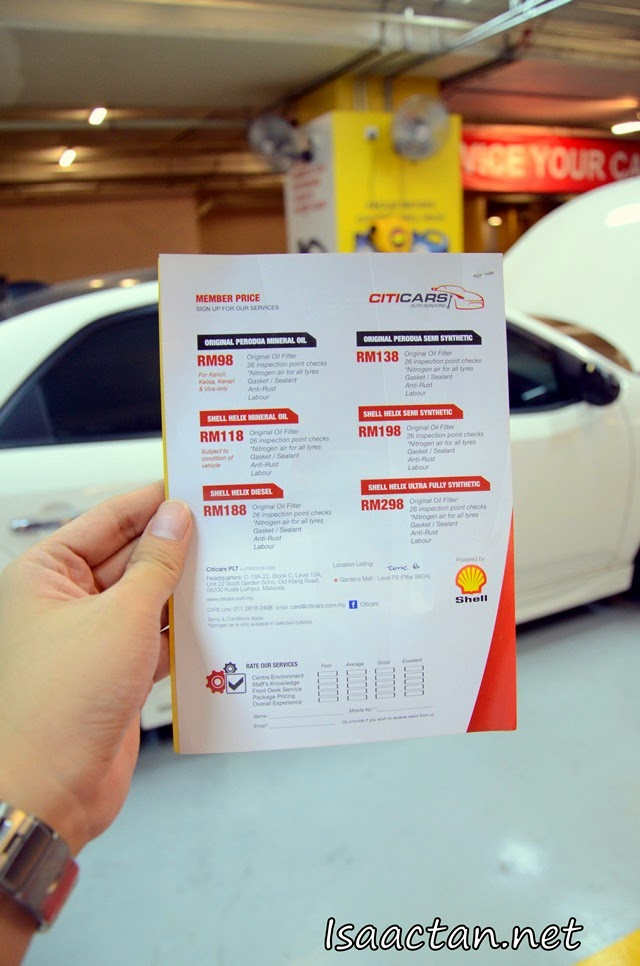 Various packages offered by CitiCars Automobile Service Centre