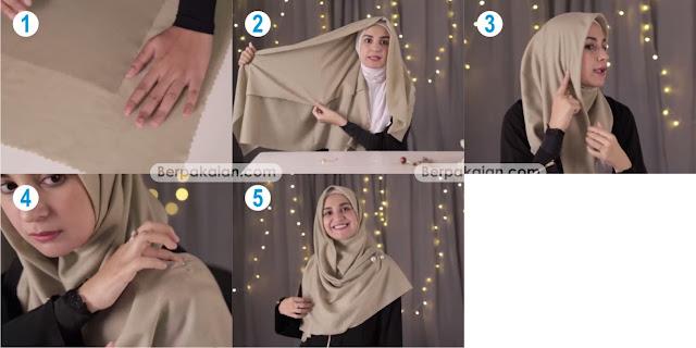 Style Kedua Tutorial Hijab Segi Empat Simpel dan Menutup Dada