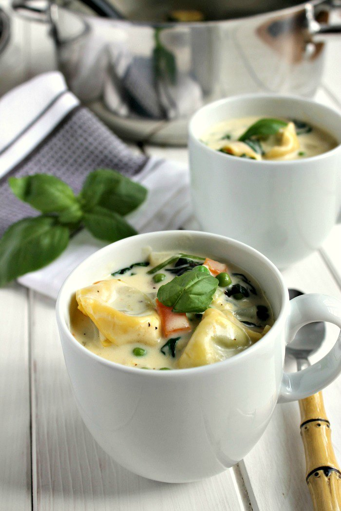 Creamy Vegetable Tortellini Soup in mugs