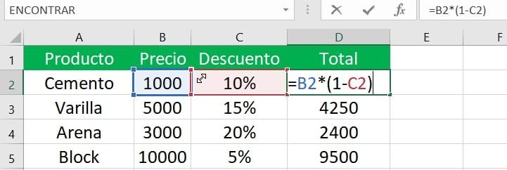 Cómo restar porcentaje en Excel