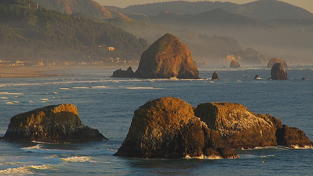 The sea stacks along Cannon Beach OR...