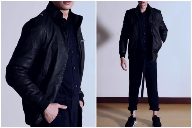 Leather jacket, Style men's jumpsuit.