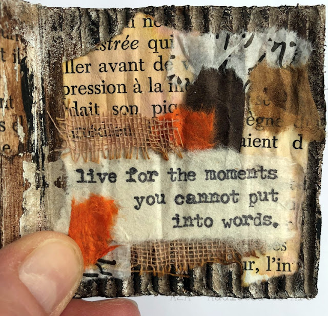 Recycled mini book with Tim Holtz Theories stamp set