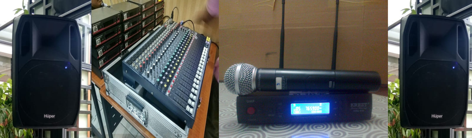 Temmpat Jasa Sewa Peralatan dan perlengkapan sound sistem, audio mixer, sound card, speaker aktif, microphone kabel, mic retro/classic, megaphone Toa, standing mic, speaker portable pa amplifier, mic condenser, mikrofone meja/mimbar,