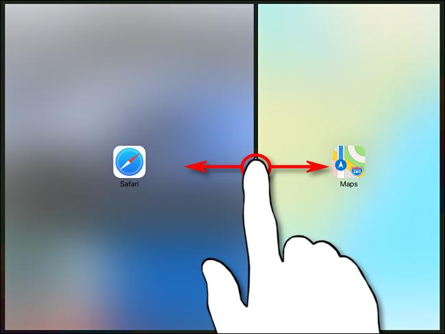 تحكم نسبي في التطبيقين في Split View على iPad باستخدام القسم الأسود