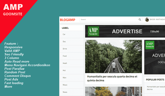 BLOGAMP Valid AMP Responsive Blogger Template