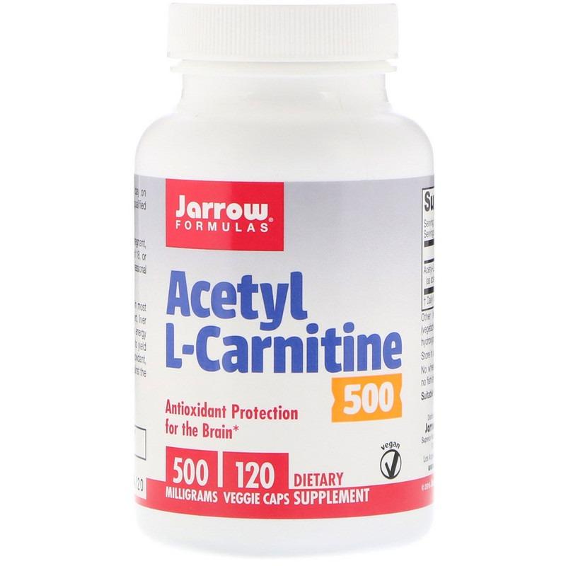 Jarrow Formulas, Ацетил-L-карнитин, 500 мг, 120 растительных капсул