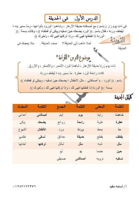 مذكرة اللغة العربية للصف الثاني الإبتدائى ترم أول 2019- للأستاذ أسامه مفيد
