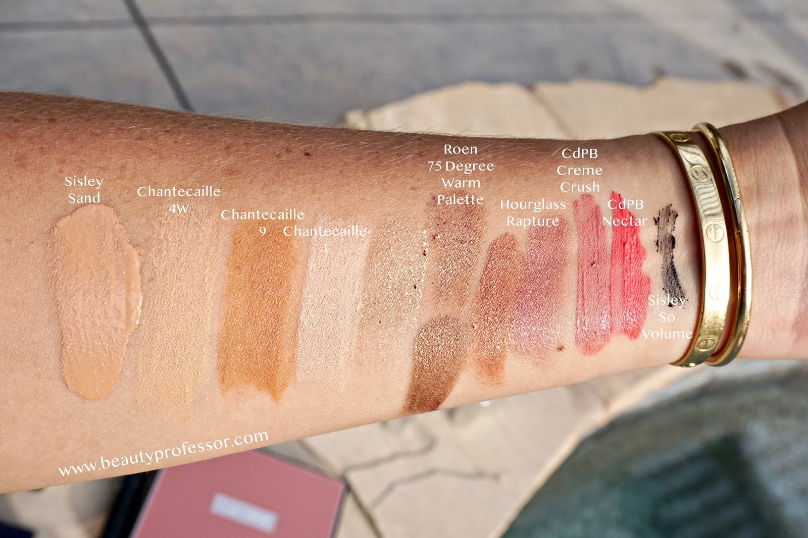 chantecaille real skin stick swatches