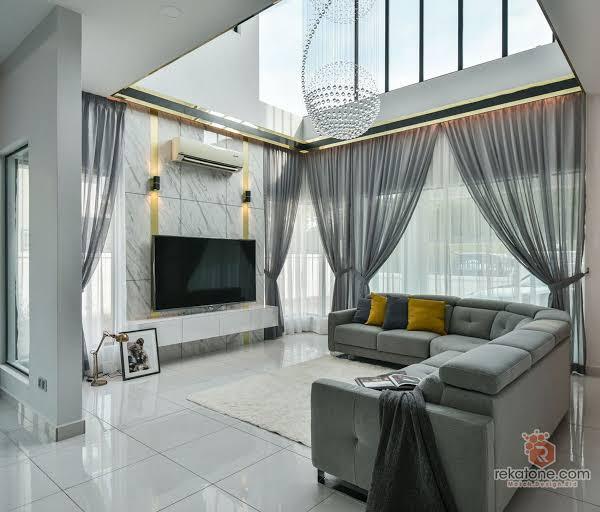 Ruang tamu dengan jendela dan pencahayaan Prospera Jaya