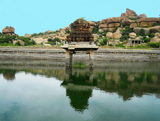 Temple pond at the Vittala Temple, Hampi