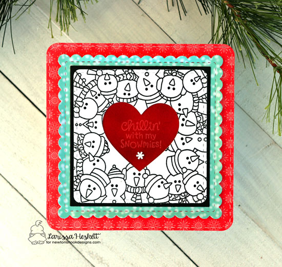 Square Snowman card by Larissa Heskett | Snowman Party Stamp Set and Frames Squared Die Set by Newton's Nook Designs #newtonsnook #handmade