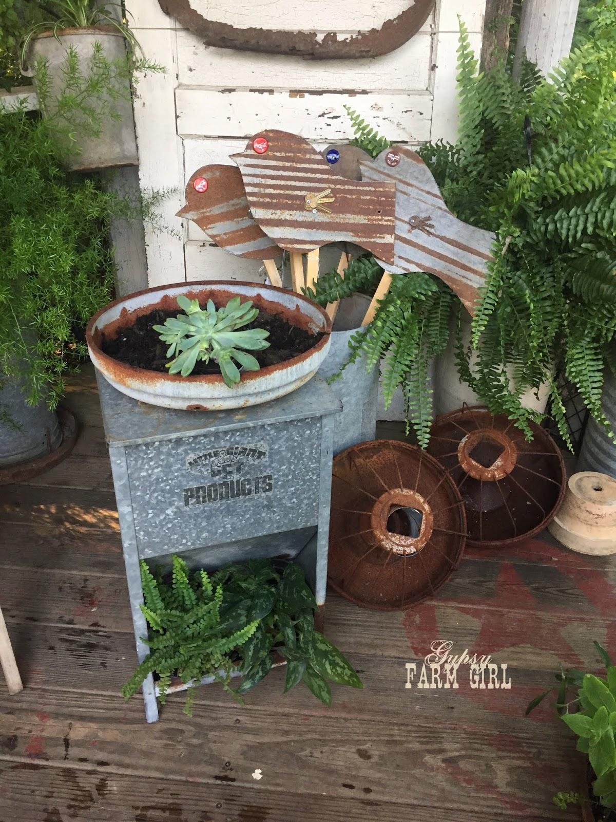 GypsyFarmGirl: How to Plant Succulents in a Vintage Chicken Feeder