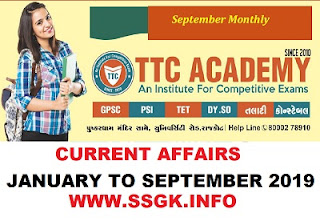 JANUARY TO SEPTEMBER 2019 CURRENT AFFAIRS BY TTC ACADEMY