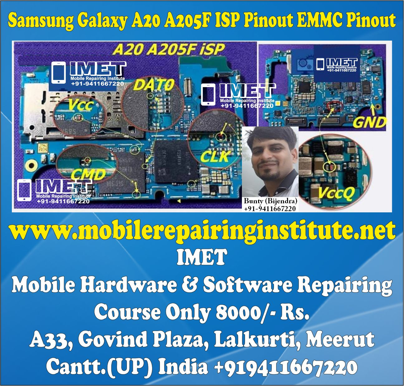 Samsung Galaxy A20 A205F ISP Pinout EMMC Pinout – Dead Boot Repair FRP Remove