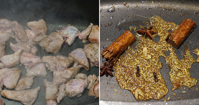 Chettinad Lamm-Curry - Fleisch und Gewürze anbraten