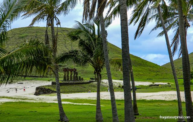 Coqueiral e plataforma de moai na Praia de Anakena, Ilha de Páscoa