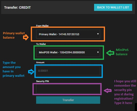 Transferring credit from primary wallet to MiniPoS