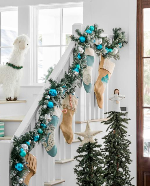 Beach Stair Christmas Garland Turquoise Blue Ornaments Stockings