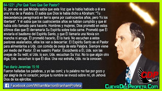 El Espíritu Santo es el Pastor para alimentarlos a ustedes - Citas William Branham Mensajes