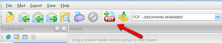 Toolbar includes function to append email to existing pdf file