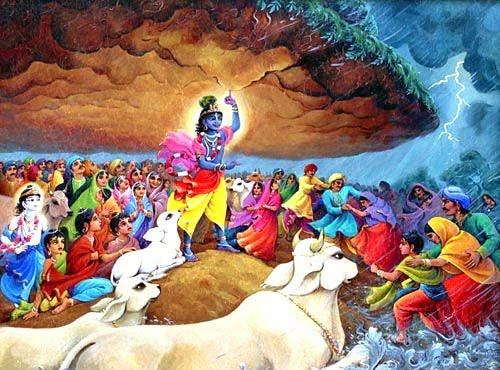 Krishna lifting Govardhan Hill on His little finger of left hand