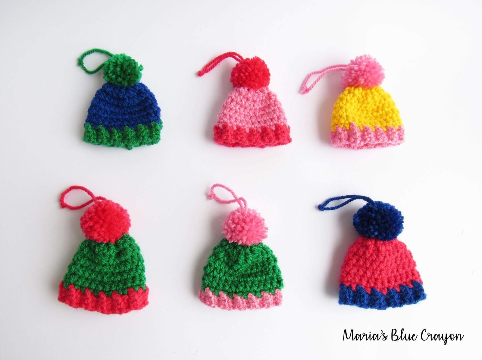 Crochet Christmas Ornaments.Crochet Christmas Ornaments Mini Pom Pom Beanies Free