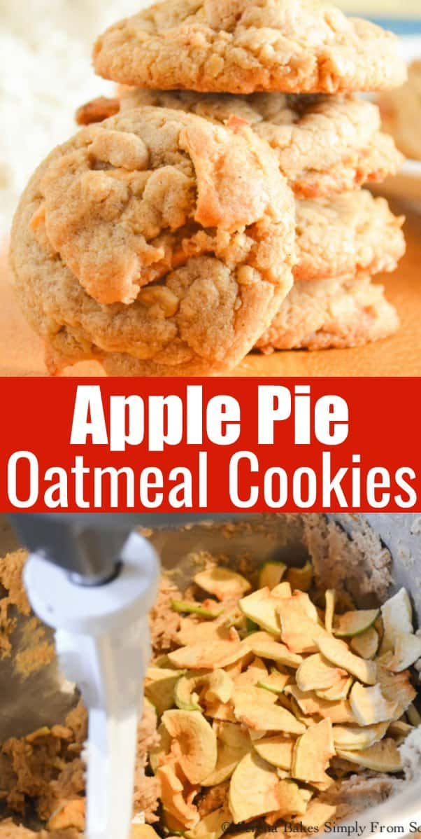 Apple Pie Oatmeal Cookies taste like a bite out of Dutch Apple Pie making this cookie recipe a fun favorite for Christmas Cookie recipe from Serena Bakes Simply From Scratch.